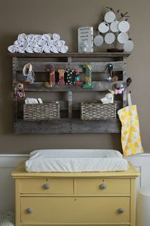 Pallet storage idea for above the changing table - the whole nursery is really cute