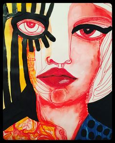 Mixed media abstract portrait by Lisa Lieber @snippygirlart