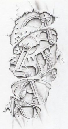 biomechanical graphite by markfellows on deviantART gears sprockets metal steam punk Tattoo Flash Art ~A.R.: