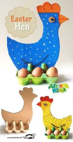 Easter Hen - Egg Carton and Cardboard fun easter DIY with kids Easter Activities, Preschool Crafts, Activities For Kids, Holiday Activities, Preschool Education, Easter Crafts For Kids, Diy For Kids, Gifts For Kids, Upcycled Crafts