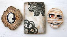Arsenic & Old Lace Halloween Cookies! October McGoo U Tutorial: antiquing & aging, wafer paper, fondant eyeball technique