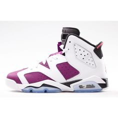AIR JORDAN 6 RETRO GIRLS 'VIVID PINK' ($120) ❤ liked on Polyvore featuring shoes, jordans, sneakers and footwear