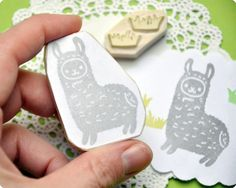Llama hand carved rubber stamp set of 2. Handmade rubber stamp. Rubber stamp. $20.00, via Etsy.