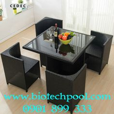 Outdoor Wicker/rattan Patio Furniture Dining Table and chair set of Space Saving Dining Table, Dinning Table Design, Dining Room Bench Seating, Unique Dining Tables, Furniture Dining Table, Coffee Table Design, Home Decor Furniture, Kitchen Furniture, Furniture Design
