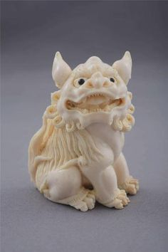Japanese Ox Bone Carved Netsuke Shishi Fu Foo Dog Lion