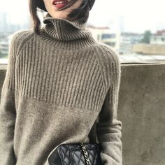 2019 autumn winter cashmere sweater female pullover high collar turtleneck sweater women solid color lady basic sweater-in Pullovers from Women's Clothing on AliExpress Knitting Pullover, Raglan Pullover, Pullover Sweaters, Women's Sweaters, Oversized Sweaters, Vintage Sweaters, Cardigans, Cashmere Turtleneck, Cashmere Wool