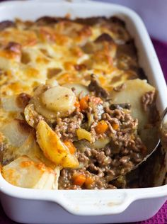 This recipe for Cottage Pie Topped with Scalloped Potato Gratin from Erren's Kitchen is a modern variation of classic shepherd's pie that has a cheesy topping of scalloped potatoes.