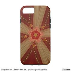 Elegant Chic Classic Red Brown Gold Star Ribbon Case