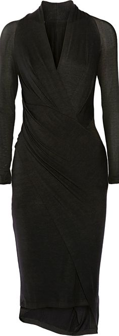 Classic LBD. Donna Karan ● wrap-effect dress via @theatoria. #blackdress #dresses