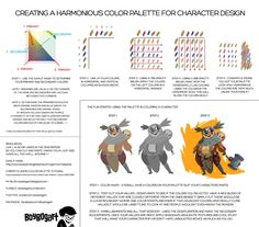 CREATING A HARMONIOUS COLOR PALETTE FOR CHARACTER DESIGN: Well, I did this for my friends but decided to post it here as well cause other people may find some value in this. :) GAMUT MASK : http://www.livepaintinglessons.com/gamutmask.php CPRESTI 'S UNIFIED COLOR PALETTE TUTORIAL: http://cpresti.deviantart.com/art/Unified-Color-Palette-Tutorial-290073389 MY BLOG: http://boybogart.blogspot.com TUMBLR: http://boybogart.tumblr.com TWITTER: ...