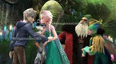 Jack and Elsa with the guardians