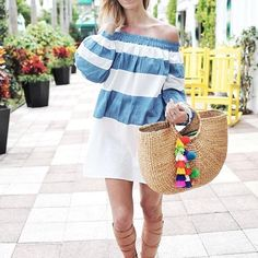 "🆕🌸Balloon off shoulder boho beach dress Divine a must have for the summer! Blue stripe is made of cotton and the white portion is made of polyester. A lot of volume! Great fun for your perfect beach vacation armpit to the hem is 25"", total length is 28.5"". Keep in mind this is off shoulder dress in terms of the length. Exact same item as seen in photo 1 Boutique Dresses Midi"