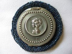 Antique Art Nouveau Woman Blue Carnival Crochet Bead Tam O Shanter Coin Purse #ChangePurse