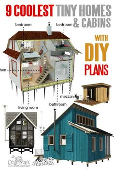 Looking for space-saving tiny house plans? Look at this cutest collection of unique tiny and micro house plans with loft, affordable cabins, sheds, and even micro home. Don't miss these tiny house collection! Backyard sheds plans Micro House Plans, House Plan With Loft, Tiny House Loft, Tiny House Trailer, Tiny House Living, Tiny House Design, Small House Plans, House Floor Plans, Shed House Plans