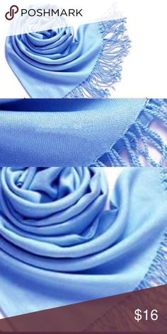 "New Light Blue Silk Blend Scarf Pashmina Top Rated-Gorgeous lightweight cashmere and silk blend blend powder blue scarf. New in packaging. 75"" X 25"" approximately. Simply beautiful. Easily worn now into the fall. Excellent quality and very soft. All photos taken by me of the scarf for sale.   Price firm. Please bundle to save 20%. Fashion Pashmina Accessories Scarves & Wraps"