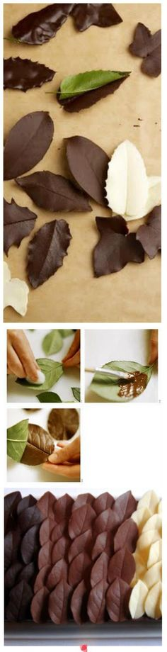 How to make chocolate leaves ~ I have been doing this for years and it works like a charm! :) Cake decorating tips and tricks Decoration Patisserie, Food Decoration, Art Decor, Chocolate Art, How To Make Chocolate, White Chocolate, Chocolate Cupcakes, Chocolate Decorations For Cake, Molding Chocolate