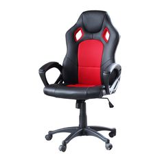 IDS Home Office Adjustable Desk Mesh Chair Ergonomic Lumbar Support High Back Computer Swivel Leather Gaming Racing Chair, Red