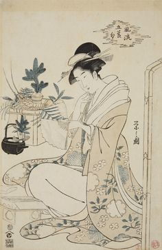 Hosoda Eishi (1756-1829).  Oban. Series: Furyu gosekku. A young woman selects a fan for New Year's. Signed: Eishi ga. Publisher: Nishimuraya Yohachi. Censor: kiwame. About 1794-1795. Good impression, faded, repaired worm holes, upper left corner damaged, paper hinges on verso.
