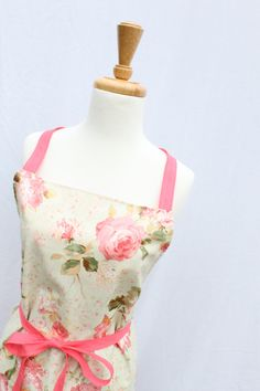 Walk in the Rose Garden Pink Apron by veryprettythings on Etsy, $30.00