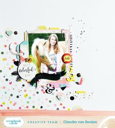 Layout using the May #scrapbookcircle kit which features the gorgeous #fancyfree collection by #paigeevans and #pinkpaislee. Process video: https://www.youtube.com/watch?v=nVBLEgP0Ma0 #scrapbooking #papercraft #creative #processvideo