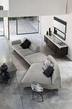 Awesome modern sofa design ideas 00067 ~ Home Decoration Inspiration Gebogenes Sofa, Sofa Furniture, Sofa Set, Furniture Design, Couches, Contemporary Sofa, Contemporary Interior Design, Home Interior Design, Kitchen Interior