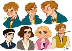 Newt Scamander 'n his book's characters. Harry Potter Illustrations, Harry Potter Drawings, Harry Potter Fan Art, Harry Potter Universal, Harry Potter Memes, Fantastic Beasts Fanart, Fantastic Beasts And Where, Yer A Wizard Harry, Ravenclaw