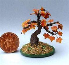Bonsai tree in Autumn - dollhouse miniature