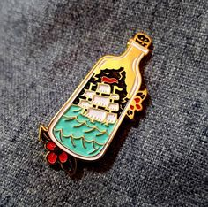 Ship in a Bottle Pin Joey Tribbiani, Jacket Pins, Cat Pin, Cool Pins, Button Badge, Pin And Patches, Stickers, Pin Badges, Scrappy Quilts