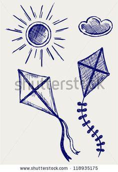 Kites In The Sky. Doodle Style Ilustração Vetor Stock 118935175 : Shutterstock