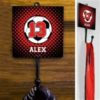 This exclusive Soccer Sport Hook is made from hand-forged steel and features a customized printed tile. Hang your coat, hats, pinnies, and medals in style. Soccer Room Decor, Forged Steel, Tile, College, Display, Sport, Printed, Hats, Design