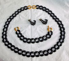 Stunning Napier Jewelry Set ~ Black Enameled Chain / Gold Accents ~ Necklace Bracelet & Earrings Set ~ Signed Vintage Designer Estate Parure by EclecticJewells on Etsy