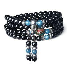 AmorWing Multilayer Blue Kyanite and Obsidian Malas Prayer Beads Bracelet