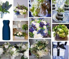 Navy & green flowers