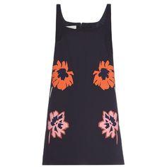 Stella McCartney Melissa flower-appliqué mini dress ($607) ❤ liked on Polyvore featuring dresses, blue mini dress, shift dresses, navy blue mini dress, short-sleeve shift dresses and navy blue short dress