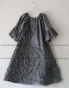 LillyAnnaKids Grey Ruffled Rosette Swing Dress by LillyAnnaKids, $38.00