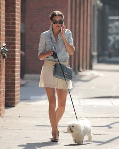 THE OLIVIA PALERMO LOOKBOOK: Olivia Palermo takes her dog for a walk in New York City.
