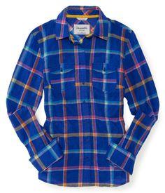 Long Sleeve Adrienne Plaid Woven Shirt - Aeropostale