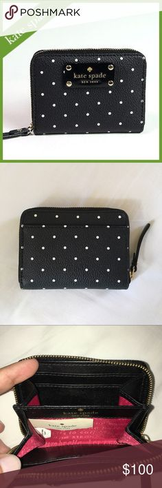 "Kate Spade Kennywood Mini Neda black/Bone Dot NWOT NWOT Kate Spade Kennywood Mini Neda black/Bone Dot. Authentic. Approx 4.25""W x 3.5""H. Gold accents with leather nameplate on front. Zip around closure. Vachetta leather interior with red lining. 4 card slots with center divider. One slip exterior pocket on rear. Leather zip pull tab. kate spade Bags Wallets"