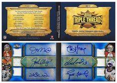 2012 Topps Triple Threads TTARDC-1 Auto Relic Booklet (6 AU & Jsy) (w/ Joe Montana, John Elway, Kurt Warner, Steve Young, Dan Marino, Brett Favre) (#3/9)