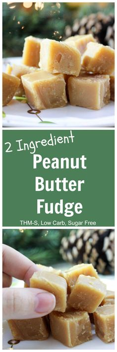 2 Ingredient Peanut Butter Fudge (THM-S, Low Carb, Sugar Free)