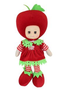 Lovely Girl Music Fruit Doll Children Musical Singing Toy- Apple Material :Vinyl+clothing. Size:38cm*25cm/15inch*9.8inch. Color as the pictures showed. Dolls for children over THREE years old .. Pinch the switch at the chest,the doll will sing..  #Toy