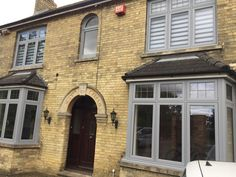 Heath House renovation in Warboys Light grey flush sash windows House With Grey Windows, House Windows, Bay Windows, House Front, Sash, House Ideas, Exterior, Houses, House Design