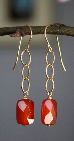 Earrings Handmade Carnelian and Gold Filled Earrings Wire Wrapped Jewelry, Beaded Jewelry, Fine Jewelry, Jewelry Making, Jewelry Necklaces, How To Make Earrings, Bead Earrings, Triangle Earrings, Silver Earrings