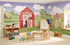 house mural | kids room murals – kids room farm wall mural ideas picture [600x391 ...