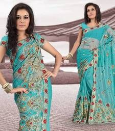 Buy Sky blue net saree with blouse (298) net-saree online
