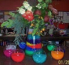 Our Fresh Flower Vase Gel Beads solid color packs increase almost 100 times their dry size. They act as a fresh flower vase filler to hide stems, but also provide water to your flowers. Sensory Bags, Water Beads, Vase Fillers, Flower Vases, Fresh Flowers, Table Decorations, Crystals, Floral, Color