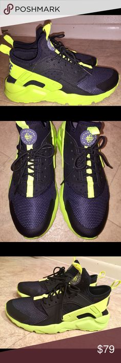 Nike Air Huarache Ultra black/bolt yellow Nike huarache Ultra, black and neon yellow. Worn once, looks brand new except for bottoms. Perfect condition, just too small for me. Sz 5.5Y = 7.5 women Nike Shoes Sneakers