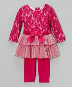 Take a look at this Fuchsia Bow Tunic & Leggings - Infant, Toddler & Girls by Youngland on #zulily today!