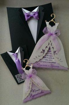 Originales y creativas invitaciones para bodas tomando como tema el vestido y el traje de los novios.