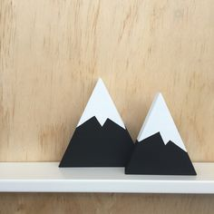 Set of 2 Mono Mountains. Individually cut, sanded and painted by hand with non toxic paint. Mountain heights 13.5cm